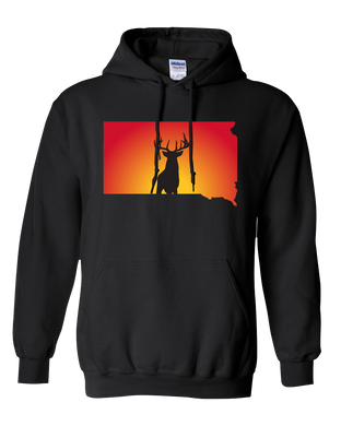 Pullover Hooded Sweatshirt South Dakota Black Whitetail Deer Vibrant Design High Quality Tight Knit Ring Spun Low Maintenance Cotton Printed With The Newest Available Color Transfer Technology