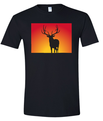 Short Sleeve T-Shirt Colorado Black Elk Vibrant Design High Quality Tight Knit Ring Spun Low Maintenance Cotton Printed With The Newest Available Color Transfer Technology