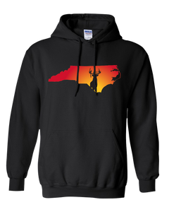 Pullover Hooded Sweatshirt North Carolina Black Whitetail Deer Vibrant Design High Quality Tight Knit Ring Spun Low Maintenance Cotton Printed With The Newest Available Color Transfer Technology