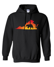 Load image into Gallery viewer, Pullover Hooded Sweatshirt Virginia Black Black Bear Vibrant Design High Quality Tight Knit Ring Spun Low Maintenance Cotton Printed With The Newest Available Color Transfer Technology