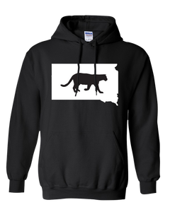 Pullover Hooded Sweatshirt South Dakota Black Mountain Lion Vibrant Design High Quality Tight Knit Ring Spun Low Maintenance Cotton Printed With The Newest Available Color Transfer Technology