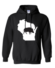 Load image into Gallery viewer, Pullover Hooded Sweatshirt Wisconsin Black Wild Hog Vibrant Design High Quality Tight Knit Ring Spun Low Maintenance Cotton Printed With The Newest Available Color Transfer Technology