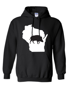 Pullover Hooded Sweatshirt Wisconsin Black Wild Hog Vibrant Design High Quality Tight Knit Ring Spun Low Maintenance Cotton Printed With The Newest Available Color Transfer Technology