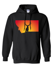 Load image into Gallery viewer, Pullover Hooded Sweatshirt Montana Black Mule Deer Vibrant Design High Quality Tight Knit Ring Spun Low Maintenance Cotton Printed With The Newest Available Color Transfer Technology