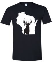 Load image into Gallery viewer, Short Sleeve T-Shirt Wisconsin Black Whitetail Deer Vibrant Design High Quality Tight Knit Ring Spun Low Maintenance Cotton Printed With The Newest Available Color Transfer Technology