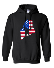 Load image into Gallery viewer, Pullover Hooded Sweatshirt Maine Black Moose Vibrant Design High Quality Tight Knit Ring Spun Low Maintenance Cotton Printed With The Newest Available Color Transfer Technology