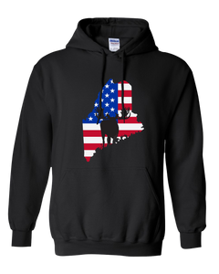 Pullover Hooded Sweatshirt Maine Black Moose Vibrant Design High Quality Tight Knit Ring Spun Low Maintenance Cotton Printed With The Newest Available Color Transfer Technology
