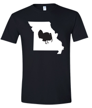 Load image into Gallery viewer, Short Sleeve T-Shirt Missouri Black Turkey Vibrant Design High Quality Tight Knit Ring Spun Low Maintenance Cotton Printed With The Newest Available Color Transfer Technology