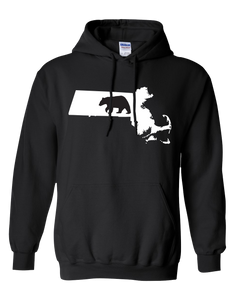 Pullover Hooded Sweatshirt Massachusetts Black Black Bear Vibrant Design High Quality Tight Knit Ring Spun Low Maintenance Cotton Printed With The Newest Available Color Transfer Technology