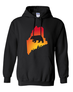 Pullover Hooded Sweatshirt Maine Black Black Bear Vibrant Design High Quality Tight Knit Ring Spun Low Maintenance Cotton Printed With The Newest Available Color Transfer Technology