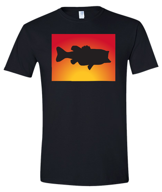 Short Sleeve T-Shirt Colorado Black Large Mouth Bass Vibrant Design High Quality Tight Knit Ring Spun Low Maintenance Cotton Printed With The Newest Available Color Transfer Technology