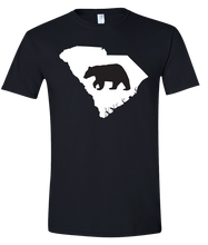 Load image into Gallery viewer, Short Sleeve T-Shirt South Carolina Black Black Bear Vibrant Design High Quality Tight Knit Ring Spun Low Maintenance Cotton Printed With The Newest Available Color Transfer Technology