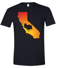 Load image into Gallery viewer, Short Sleeve T-Shirt California Black Turkey Vibrant Design High Quality Tight Knit Ring Spun Low Maintenance Cotton Printed With The Newest Available Color Transfer Technology
