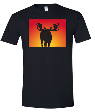 Short Sleeve T-Shirt Colorado Black Moose Vibrant Design High Quality Tight Knit Ring Spun Low Maintenance Cotton Printed With The Newest Available Color Transfer Technology