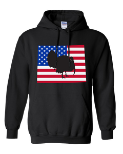 Pullover Hooded Sweatshirt Wyoming Black Turkey Vibrant Design High Quality Tight Knit Ring Spun Low Maintenance Cotton Printed With The Newest Available Color Transfer Technology