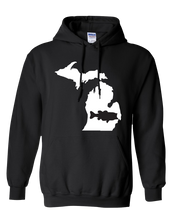 Load image into Gallery viewer, Pullover Hooded Sweatshirt Michigan Black Large Mouth Bass Vibrant Design High Quality Tight Knit Ring Spun Low Maintenance Cotton Printed With The Newest Available Color Transfer Technology