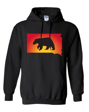 Pullover Hooded Sweatshirt South Dakota Black Black Bear Vibrant Design High Quality Tight Knit Ring Spun Low Maintenance Cotton Printed With The Newest Available Color Transfer Technology