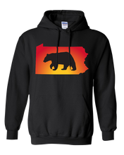 Load image into Gallery viewer, Pullover Hooded Sweatshirt Pennsylvania Black Black Bear Vibrant Design High Quality Tight Knit Ring Spun Low Maintenance Cotton Printed With The Newest Available Color Transfer Technology
