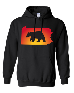 Pullover Hooded Sweatshirt Pennsylvania Black Black Bear Vibrant Design High Quality Tight Knit Ring Spun Low Maintenance Cotton Printed With The Newest Available Color Transfer Technology