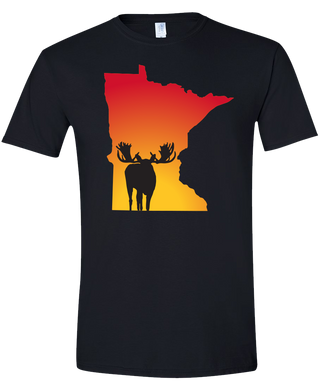 Short Sleeve T-Shirt Minnesota Black Moose Vibrant Design High Quality Tight Knit Ring Spun Low Maintenance Cotton Printed With The Newest Available Color Transfer Technology