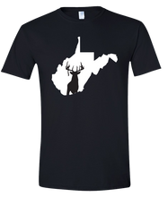 Load image into Gallery viewer, Short Sleeve T-Shirt West Virginia Black Whitetail Deer Vibrant Design High Quality Tight Knit Ring Spun Low Maintenance Cotton Printed With The Newest Available Color Transfer Technology