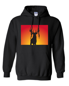 Pullover Hooded Sweatshirt Colorado Black Whitetail Deer Vibrant Design High Quality Tight Knit Ring Spun Low Maintenance Cotton Printed With The Newest Available Color Transfer Technology