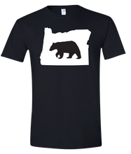 Load image into Gallery viewer, Short Sleeve T-Shirt Oregon Black Black Bear Vibrant Design High Quality Tight Knit Ring Spun Low Maintenance Cotton Printed With The Newest Available Color Transfer Technology