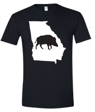 Load image into Gallery viewer, Short Sleeve T-Shirt Georgia Black Wild Hog Vibrant Design High Quality Tight Knit Ring Spun Low Maintenance Cotton Printed With The Newest Available Color Transfer Technology