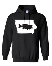 Load image into Gallery viewer, Pullover Hooded Sweatshirt Iowa Black Large Mouth Bass Vibrant Design High Quality Tight Knit Ring Spun Low Maintenance Cotton Printed With The Newest Available Color Transfer Technology