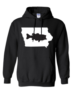 Pullover Hooded Sweatshirt Iowa Black Large Mouth Bass Vibrant Design High Quality Tight Knit Ring Spun Low Maintenance Cotton Printed With The Newest Available Color Transfer Technology