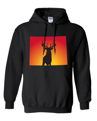 Pullover Hooded Sweatshirt Wyoming Black Whitetail Deer Vibrant Design High Quality Tight Knit Ring Spun Low Maintenance Cotton Printed With The Newest Available Color Transfer Technology