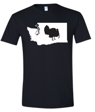 Load image into Gallery viewer, Short Sleeve T-Shirt Washington Black Turkey Vibrant Design High Quality Tight Knit Ring Spun Low Maintenance Cotton Printed With The Newest Available Color Transfer Technology