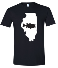 Load image into Gallery viewer, Short Sleeve T-Shirt Illinois Black Large Mouth Bass Vibrant Design High Quality Tight Knit Ring Spun Low Maintenance Cotton Printed With The Newest Available Color Transfer Technology