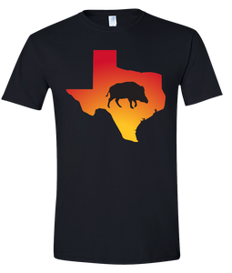 Short Sleeve T-Shirt Texas Black Wild Hog Vibrant Design High Quality Tight Knit Ring Spun Low Maintenance Cotton Printed With The Newest Available Color Transfer Technology