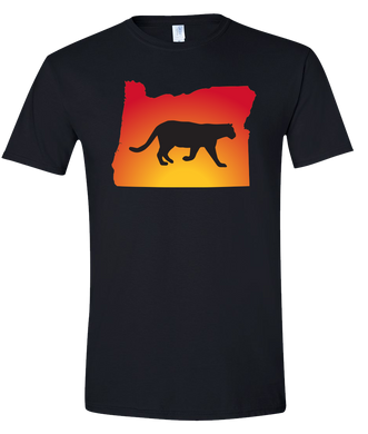 Short Sleeve T-Shirt Oregon Black Mountain Lion Vibrant Design High Quality Tight Knit Ring Spun Low Maintenance Cotton Printed With The Newest Available Color Transfer Technology