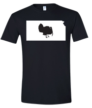 Load image into Gallery viewer, Short Sleeve T-Shirt Kansas Black Turkey Vibrant Design High Quality Tight Knit Ring Spun Low Maintenance Cotton Printed With The Newest Available Color Transfer Technology