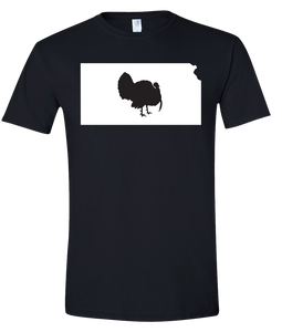 Short Sleeve T-Shirt Kansas Black Turkey Vibrant Design High Quality Tight Knit Ring Spun Low Maintenance Cotton Printed With The Newest Available Color Transfer Technology