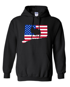 Pullover Hooded Sweatshirt Connecticut Black Turkey Vibrant Design High Quality Tight Knit Ring Spun Low Maintenance Cotton Printed With The Newest Available Color Transfer Technology