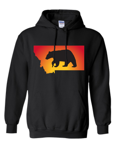 Pullover Hooded Sweatshirt Montana Black Black Bear Vibrant Design High Quality Tight Knit Ring Spun Low Maintenance Cotton Printed With The Newest Available Color Transfer Technology