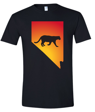 Short Sleeve T-Shirt Nevada Black Mountain Lion Vibrant Design High Quality Tight Knit Ring Spun Low Maintenance Cotton Printed With The Newest Available Color Transfer Technology