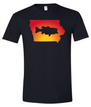 Load image into Gallery viewer, Short Sleeve T-Shirt Iowa Black Large Mouth Bass Vibrant Design High Quality Tight Knit Ring Spun Low Maintenance Cotton Printed With The Newest Available Color Transfer Technology