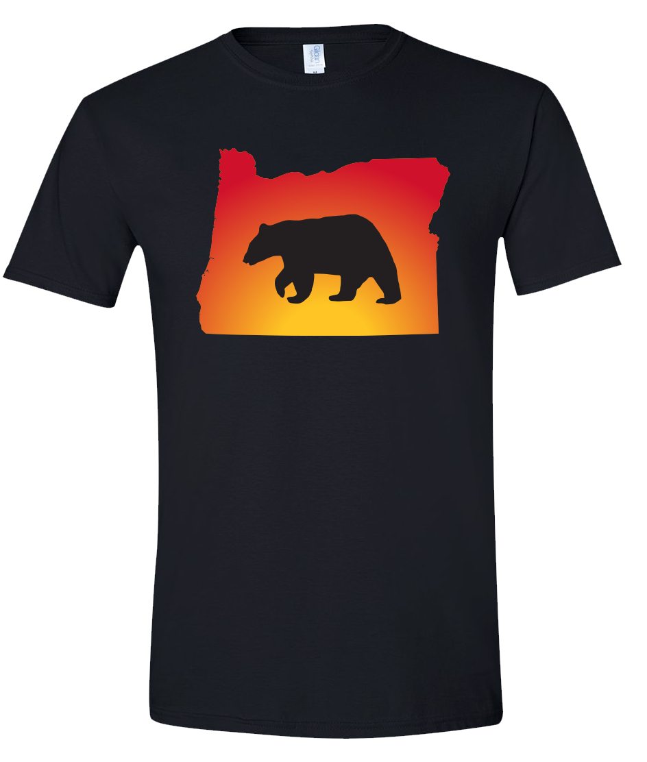 Short Sleeve T-Shirt Oregon Black Black Bear Vibrant Design High Quality Tight Knit Ring Spun Low Maintenance Cotton Printed With The Newest Available Color Transfer Technology