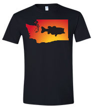 Load image into Gallery viewer, Short Sleeve T-Shirt Washington Black Large Mouth Bass Vibrant Design High Quality Tight Knit Ring Spun Low Maintenance Cotton Printed With The Newest Available Color Transfer Technology