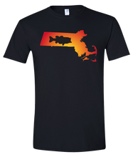 Load image into Gallery viewer, Short Sleeve T-Shirt Massachusetts Black Large Mouth Bass Vibrant Design High Quality Tight Knit Ring Spun Low Maintenance Cotton Printed With The Newest Available Color Transfer Technology