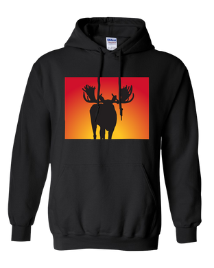 Pullover Hooded Sweatshirt Colorado Black Moose Vibrant Design High Quality Tight Knit Ring Spun Low Maintenance Cotton Printed With The Newest Available Color Transfer Technology