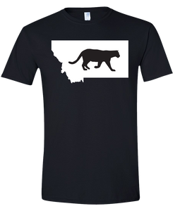Short Sleeve T-Shirt Montana Black Mountain Lion Vibrant Design High Quality Tight Knit Ring Spun Low Maintenance Cotton Printed With The Newest Available Color Transfer Technology