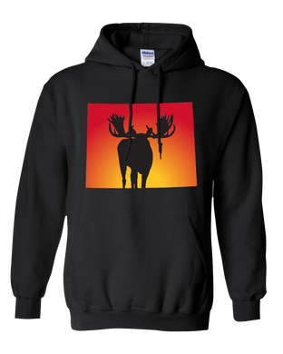 Pullover Hooded Sweatshirt Wyoming Black Moose Vibrant Design High Quality Tight Knit Ring Spun Low Maintenance Cotton Printed With The Newest Available Color Transfer Technology