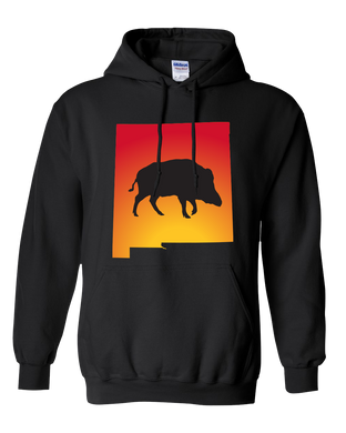 Pullover Hooded Sweatshirt New Mexico Black Wild Hog Vibrant Design High Quality Tight Knit Ring Spun Low Maintenance Cotton Printed With The Newest Available Color Transfer Technology