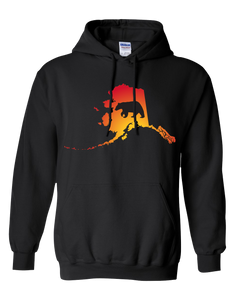 Pullover Hooded Sweatshirt Alaska Black Black Bear Vibrant Design High Quality Tight Knit Ring Spun Low Maintenance Cotton Printed With The Newest Available Color Transfer Technology