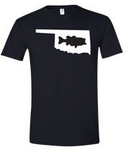 Load image into Gallery viewer, Short Sleeve T-Shirt Oklahoma Black Large Mouth Bass Vibrant Design High Quality Tight Knit Ring Spun Low Maintenance Cotton Printed With The Newest Available Color Transfer Technology